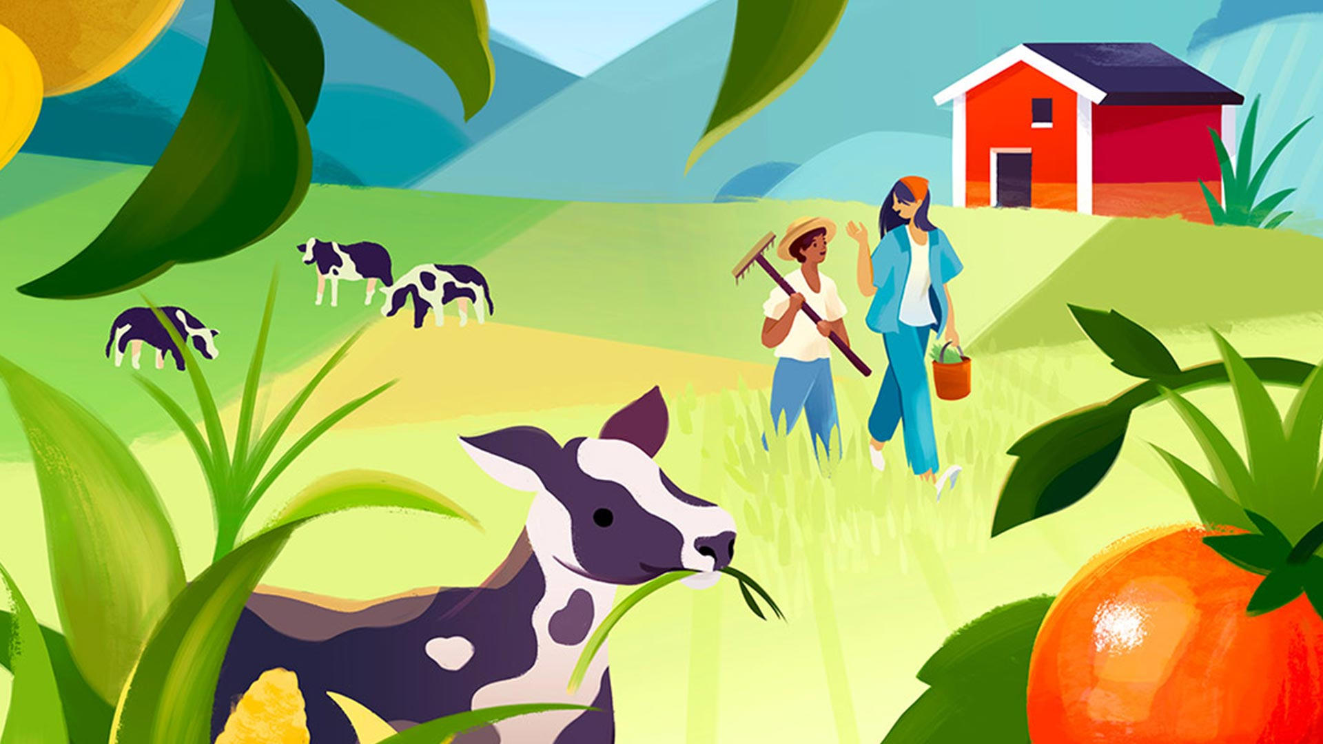 A colorful illustration of an old and young farmer walking together though a farm.