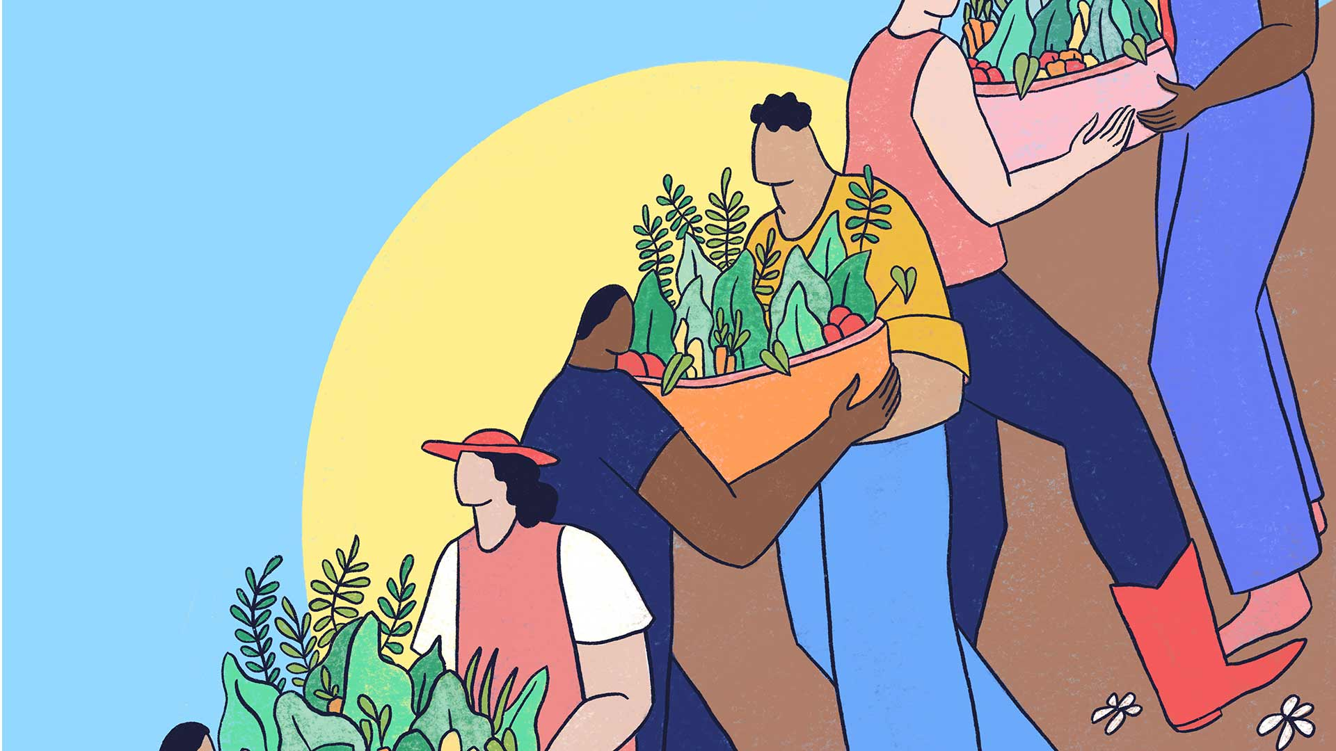 An illustration of farmers handing baskets of fruits and veggies to one another.