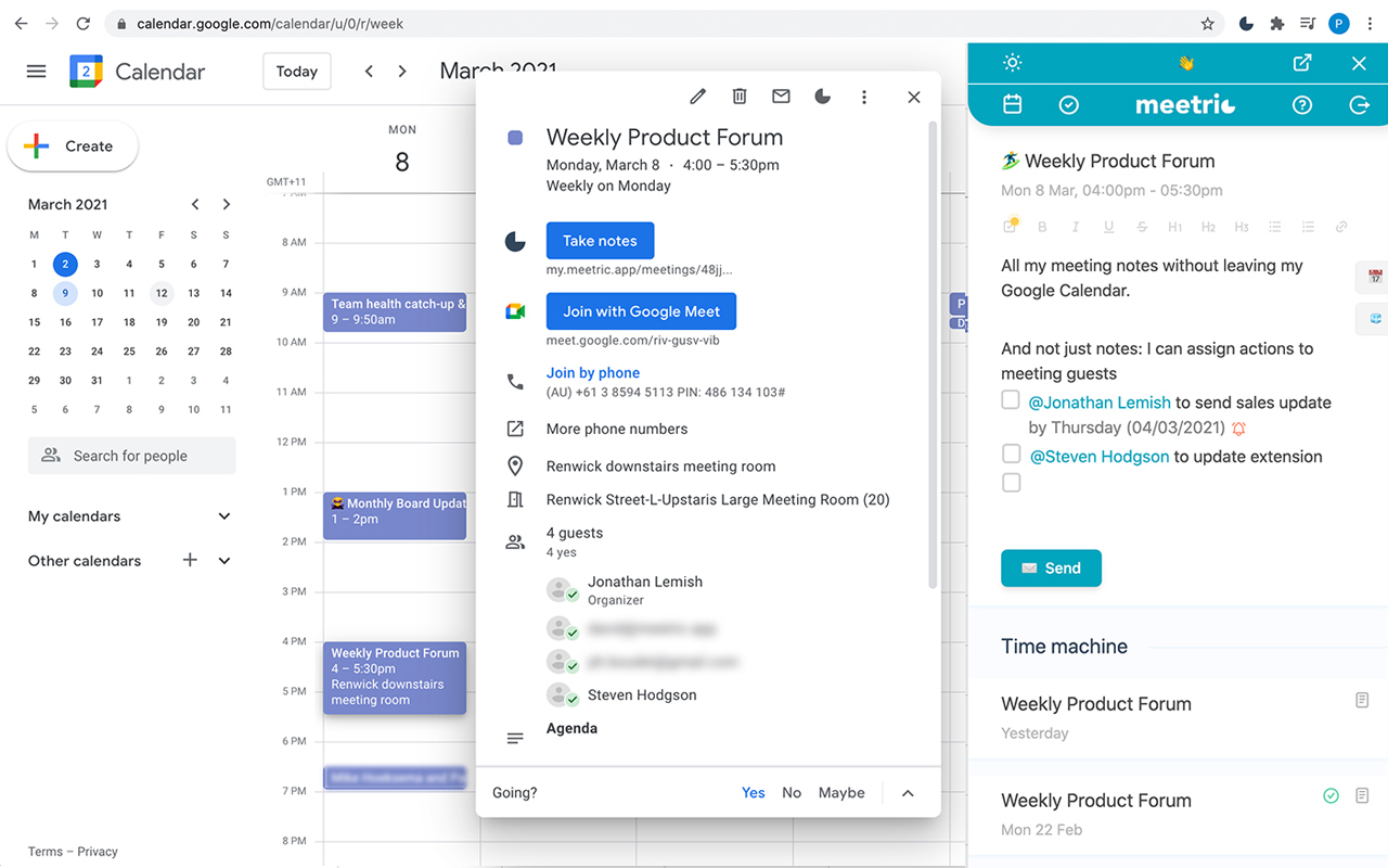 Meeting notes Chrome Extension