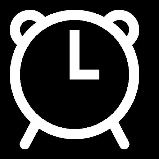 White Retro Alarm clock Icon