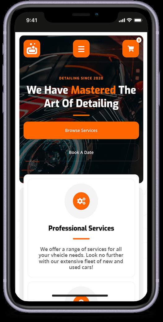 Carisma Car website displayed on iPhone 11 XR