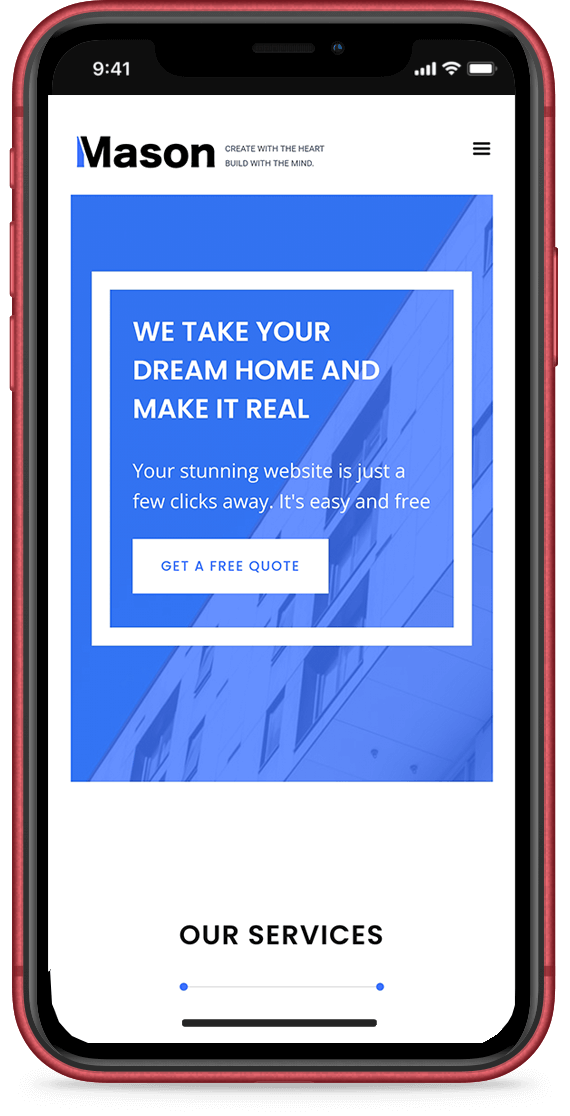 Mason Construction website displayed on iPhone 11 XR