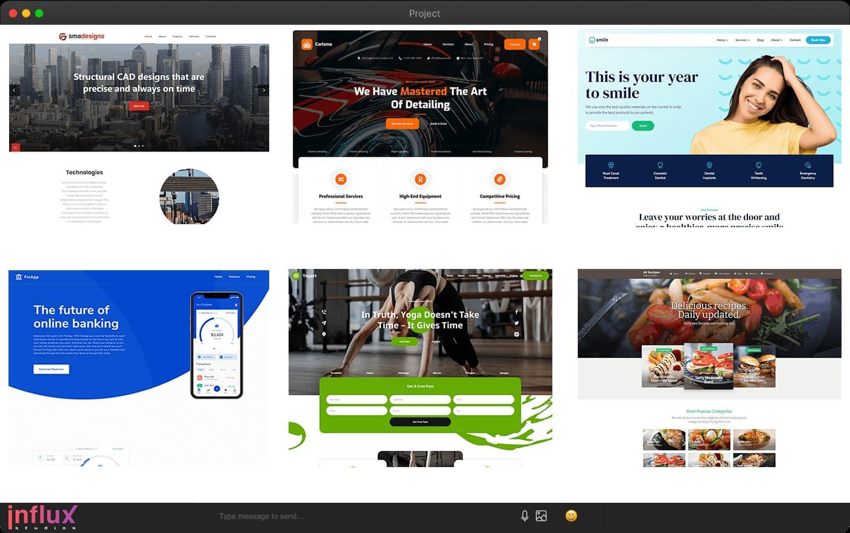 Laptop screenshot displaying Influx Studios Website Design portfolio