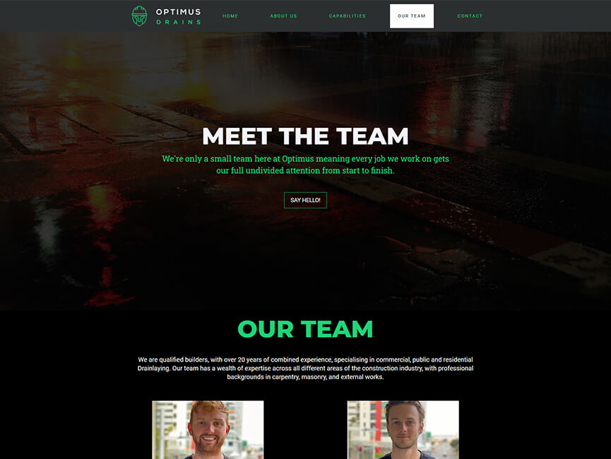 Screenshot of 'Optimus Drains' Website Project Meet the Team