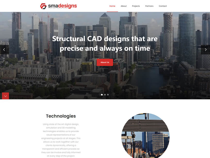 Screenshot of 'SMA Designs' Website Project Homepage