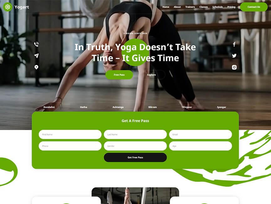 Screenshot of 'YOGA' Website Project Homepage