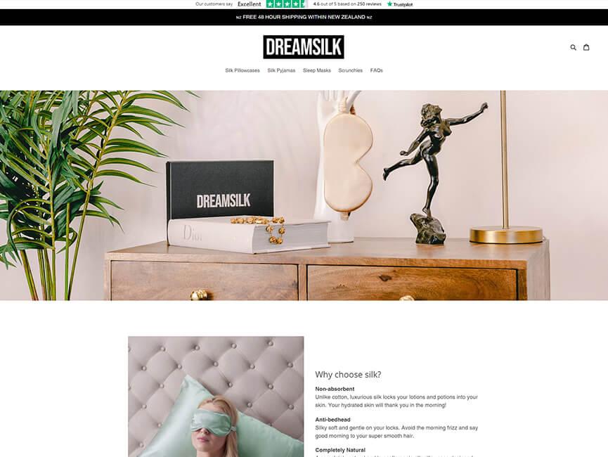 Screenshot of 'Dream Silk' Website Project Homepage