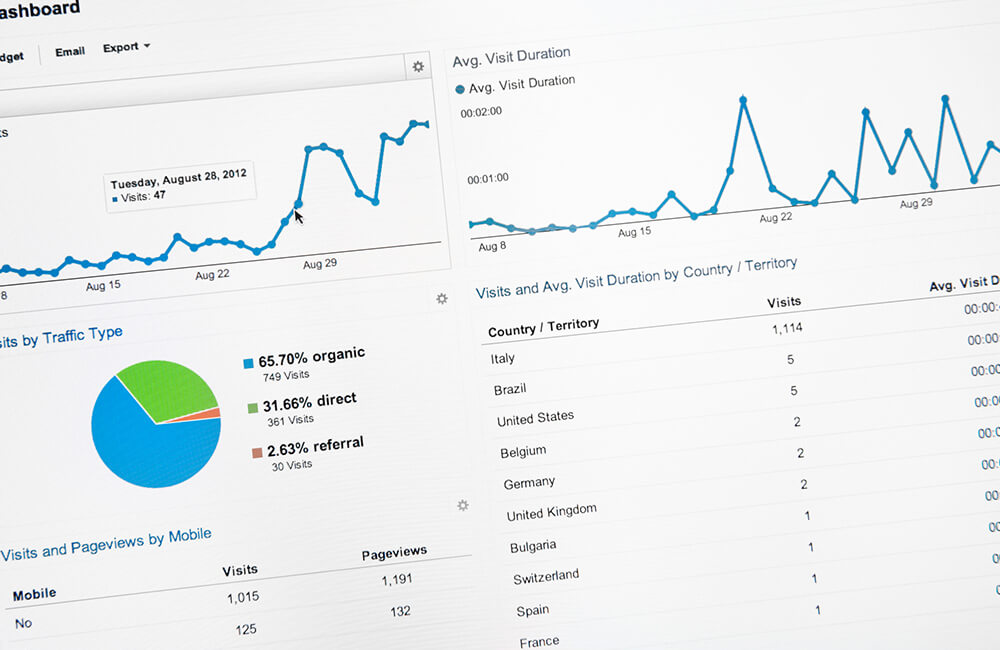 close up of search engine optimisation data software showing a pie chart and a graph