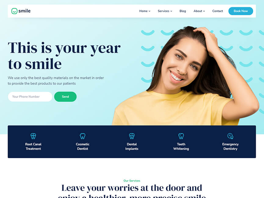 Screenshot of 'Your Year To Smile' Website Project Homepage