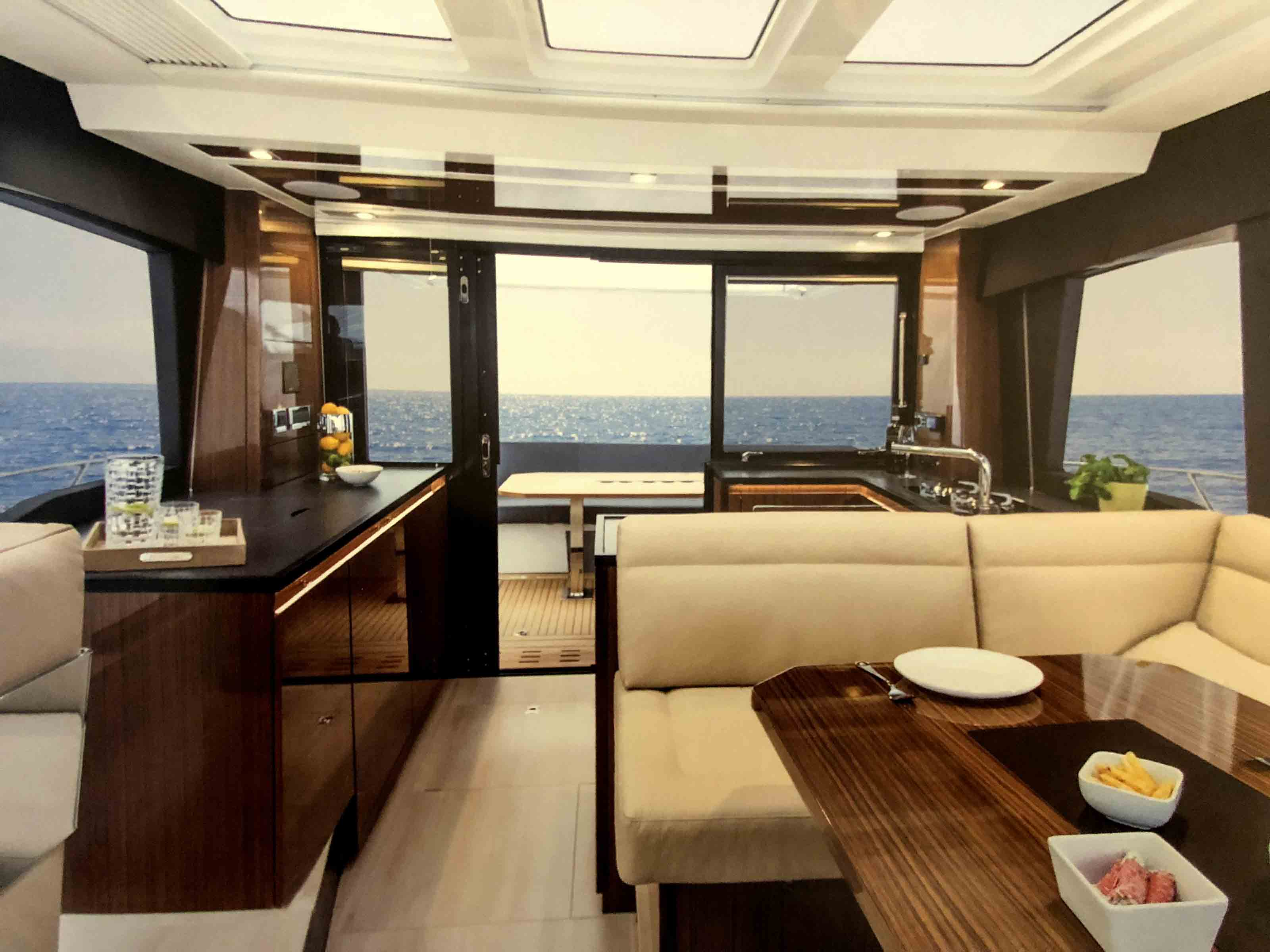 floor ot ceiling glass on board the yacht