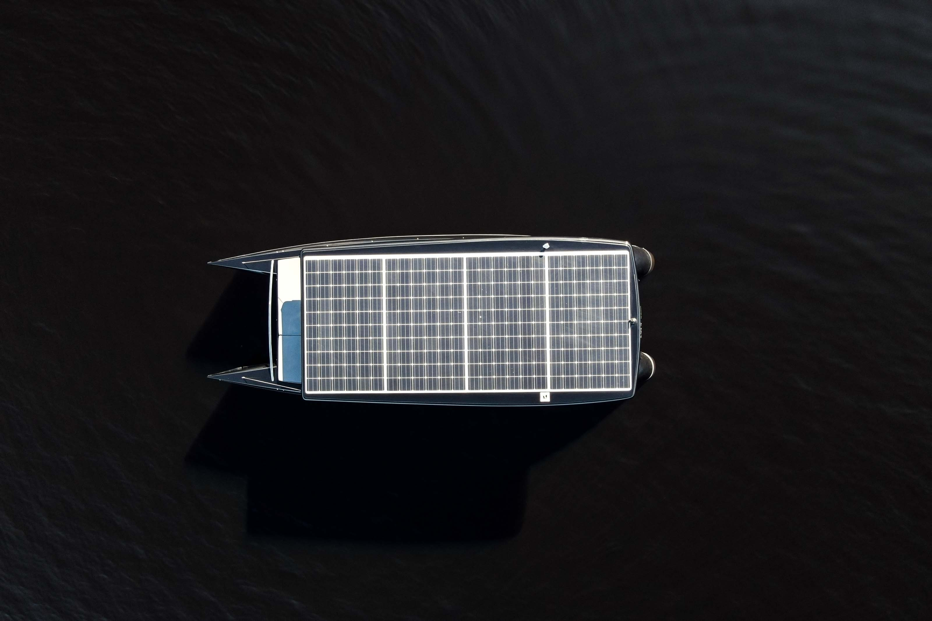 solar boat from above