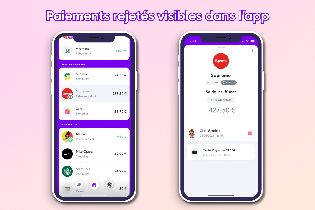 Paiement rejetés visibles dans l'app