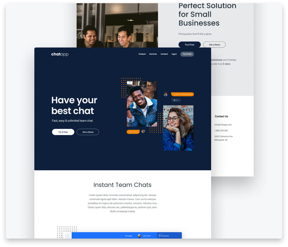 """Image thumbnails for """"Chat App Website"""" project."""