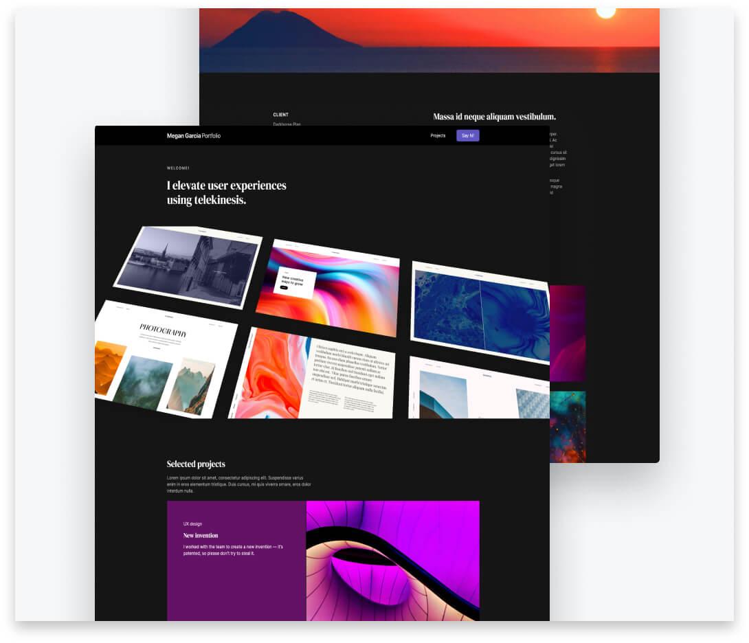"""Image thumbnails for """"Portfolio Concept"""" project."""