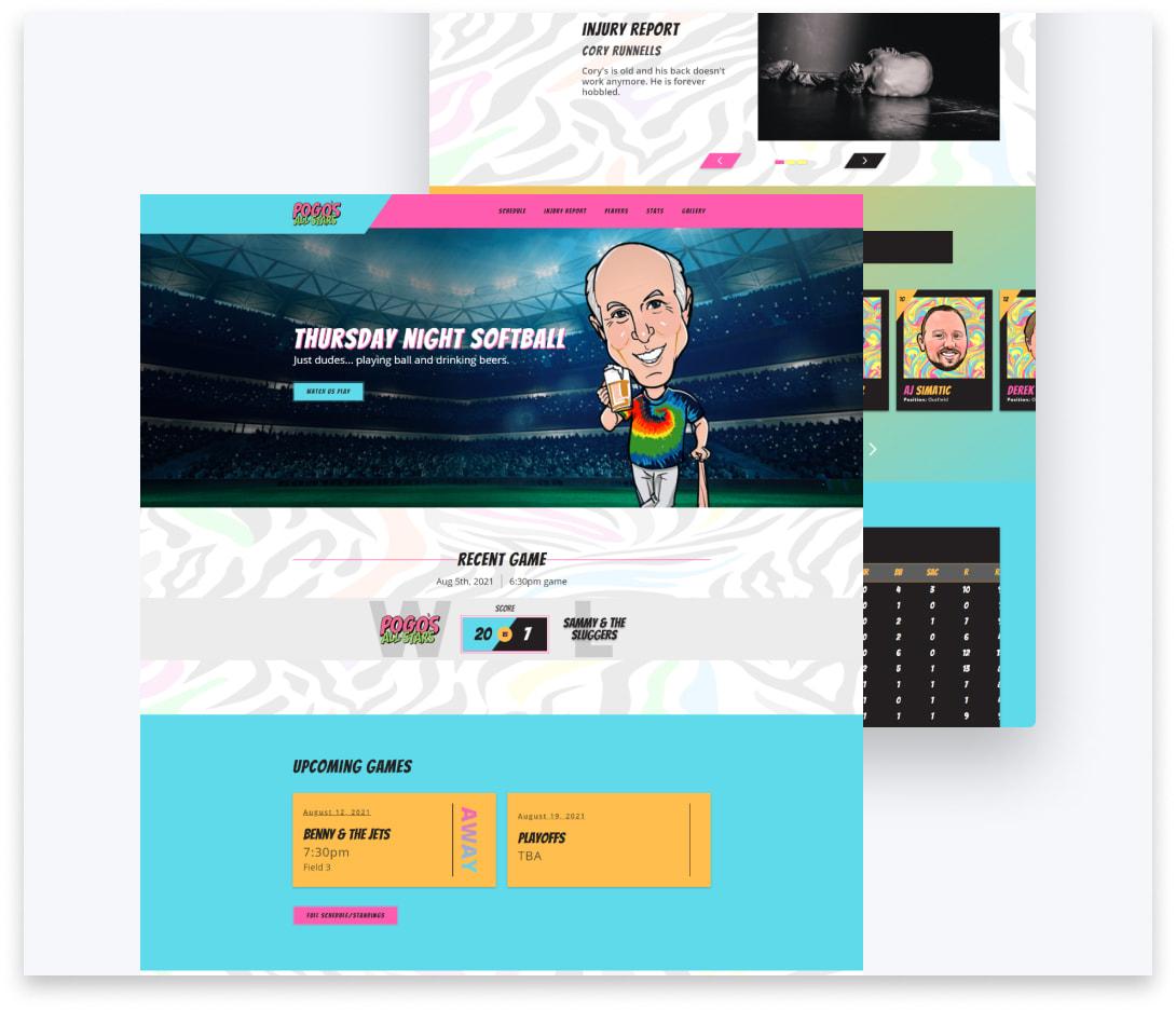 "Thumbnail of ""Pogo's Allstars"" website project."