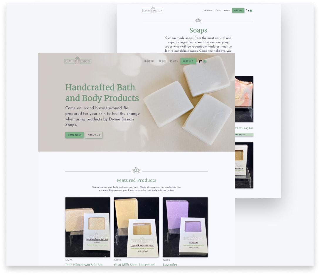 "Image thumbnails for ""Divine Design Soaps"" project."