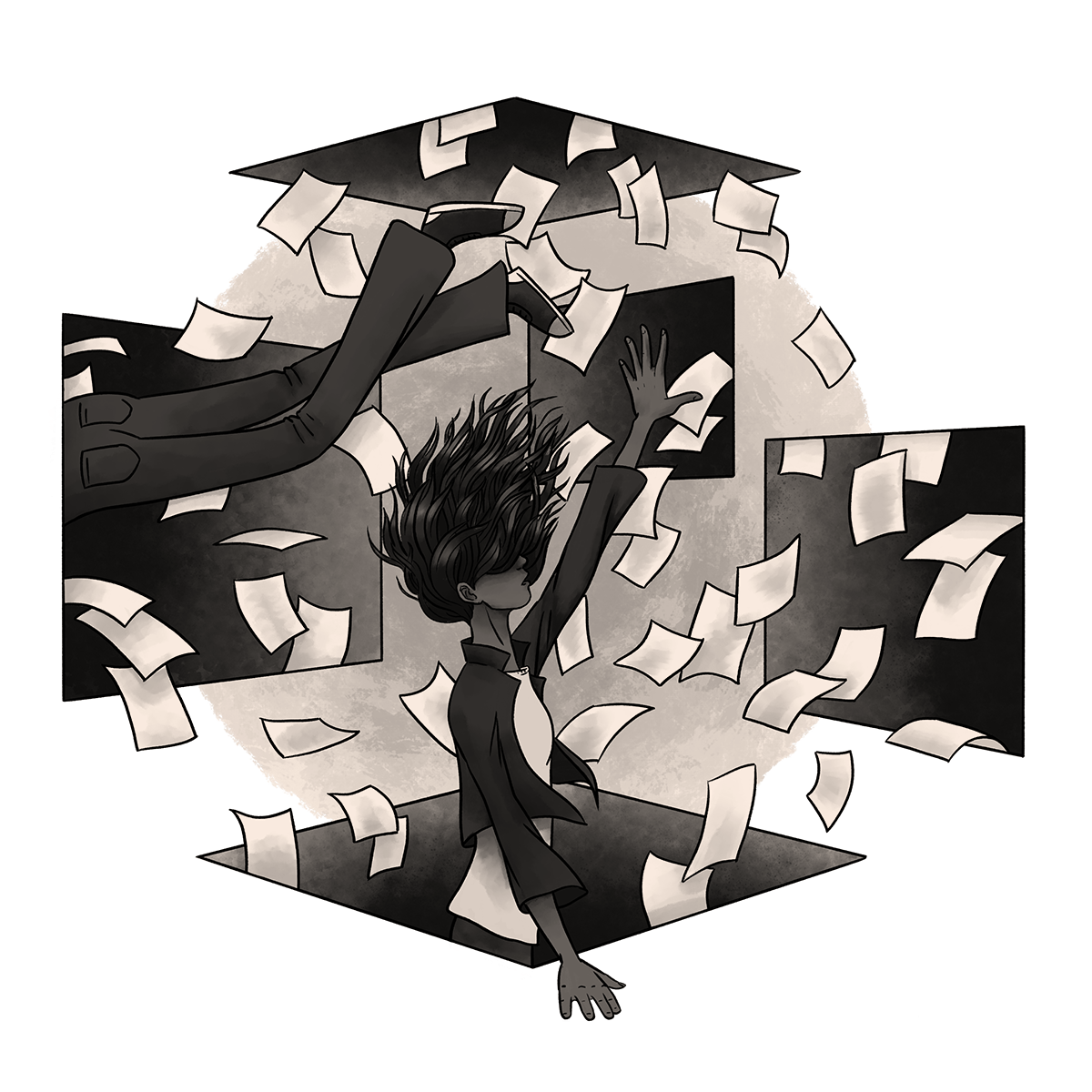 A woman is lost in a room of portals with papers flying around.