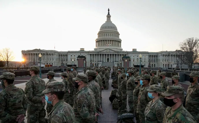National Guardsmen in Front of the Capitol