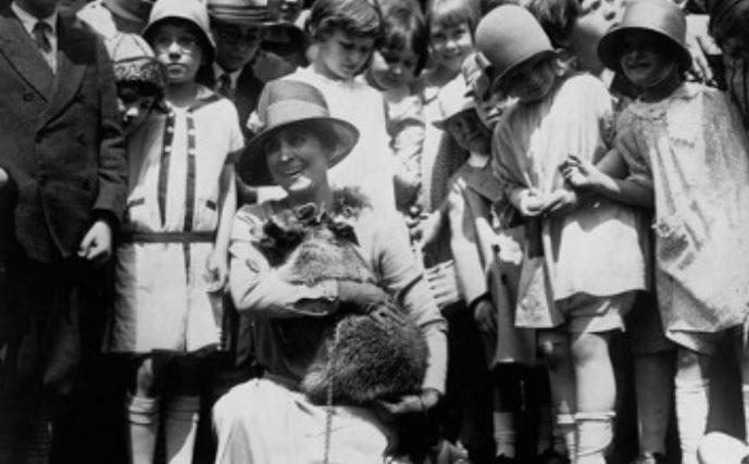 Grace Coolidge With Pet Raccoon Rebecca