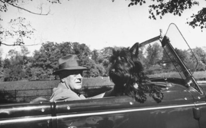 Franklin D. Roosevelt and his traveling companion