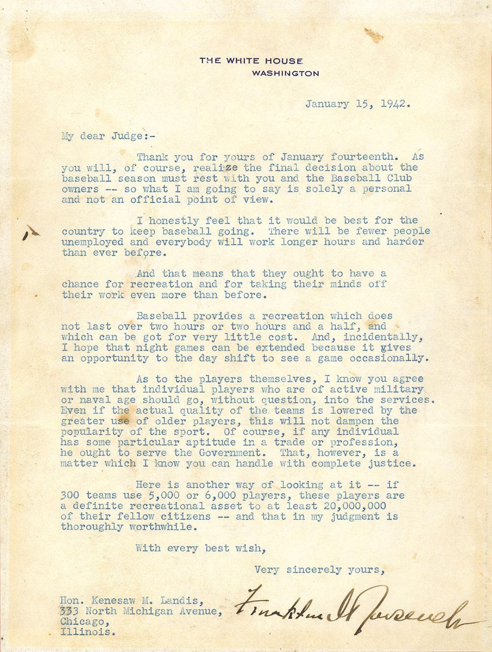 Support of Baseball Letter by President Roosevelt
