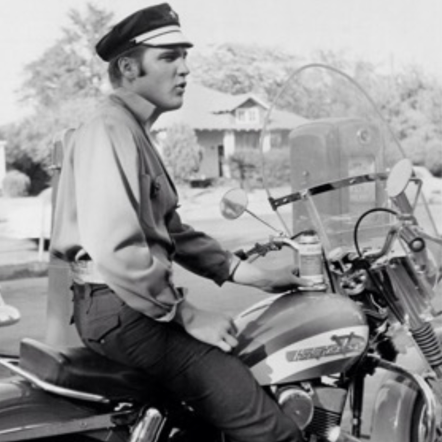 Elvis Presley on his Harley Davidson, c. 1956