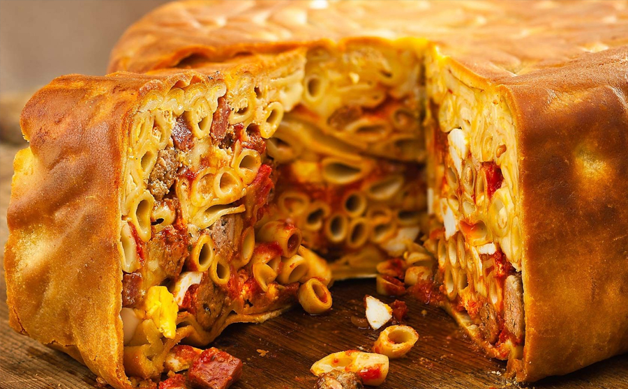 This is what a timpano should look like when you cut into it