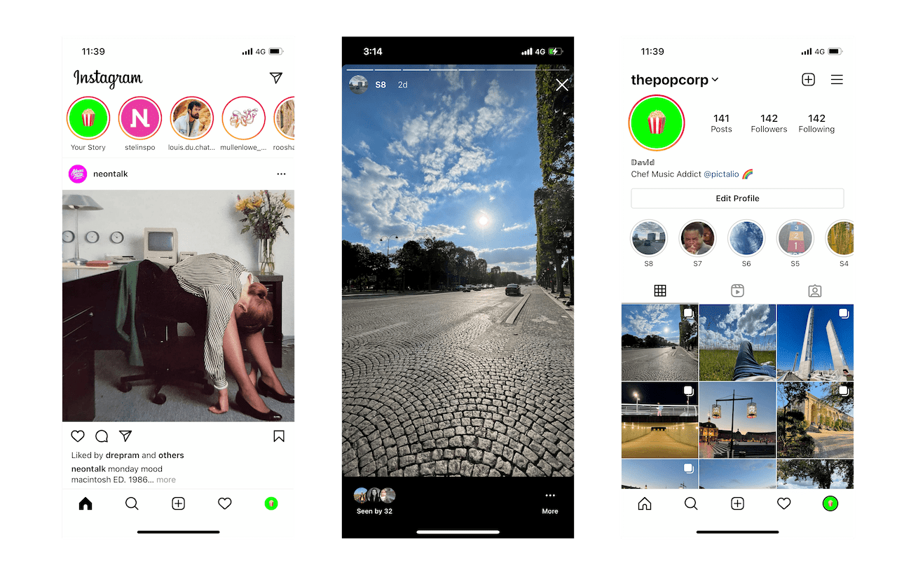 Instagram feed, stories and profile screenshots on iPhone