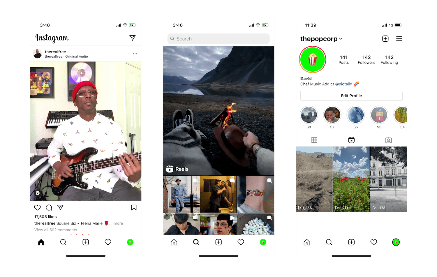 Instagram feed, Reels and Profile screenshots on iPhone