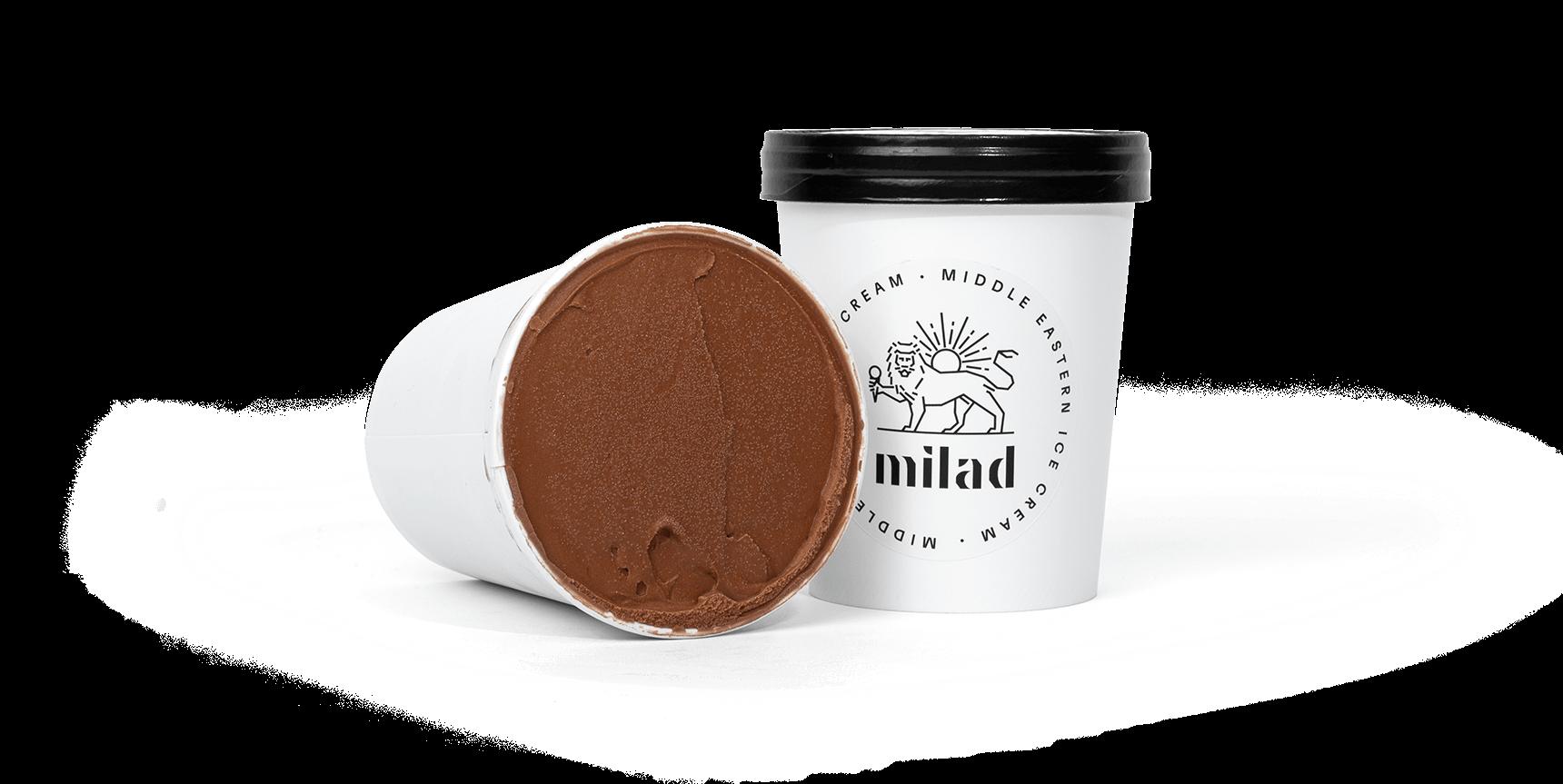 packshot of chocolate ice cream