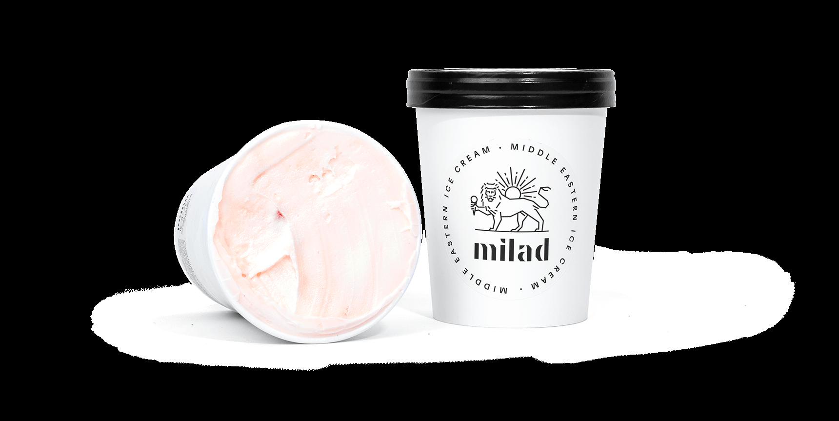 packshot of yoghurt pommegranate ice cream