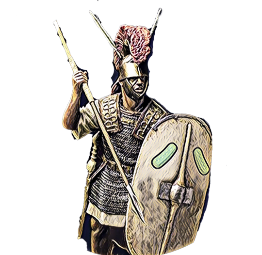 Pickolo: Gladiator with a spear and a shield ready for the NFT battle in the colosseum