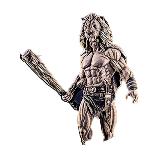 John the Beast: Enraged Gladiator with huge wooden weapon and he's wearing a beast (lion) head as a cap, he's ready to battle it down for NFT in the colosseum