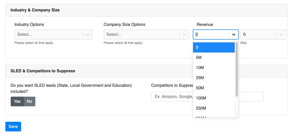 Select min revenue