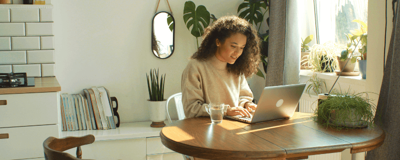 woman working from home at computer