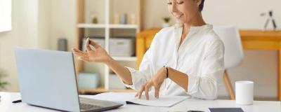 woman hosting webinar