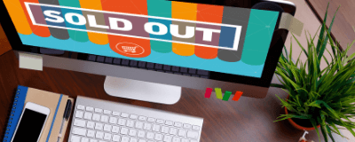 computer showing sold out sign