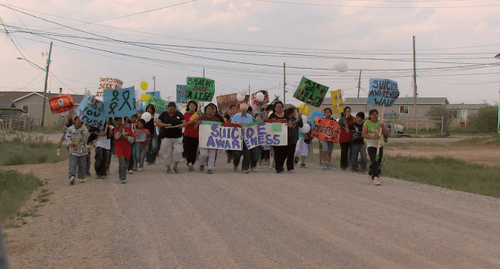 Residents of Attawapiskat protesting