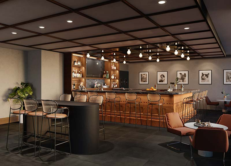 rendering of the Baker and Able rooftop bar