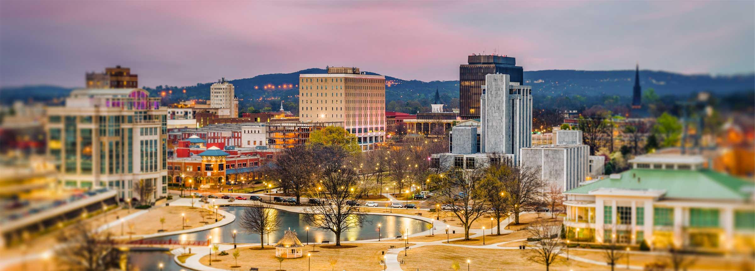 Aerial photo of downtown Huntsville, hotel in downtown huntsville, 106 Jefferson