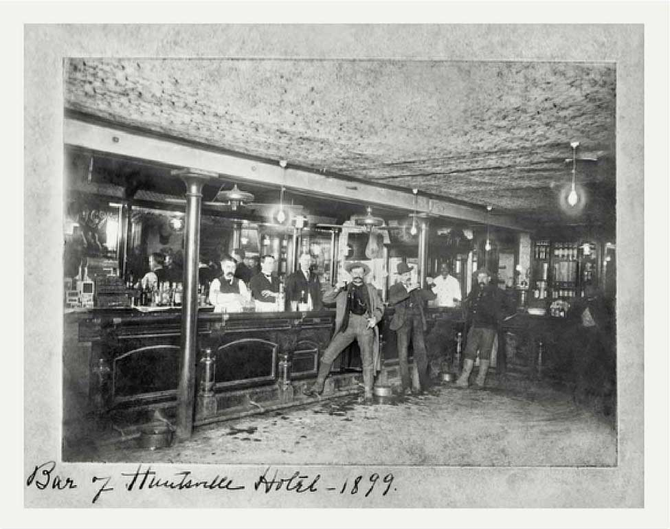 1899 photo of the bar at the Huntsville Hotel
