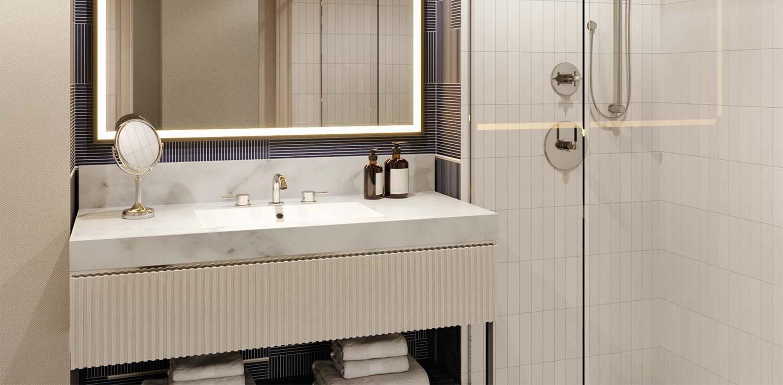 Guest room bathroom, hotel in Huntsville, 106 Jefferson