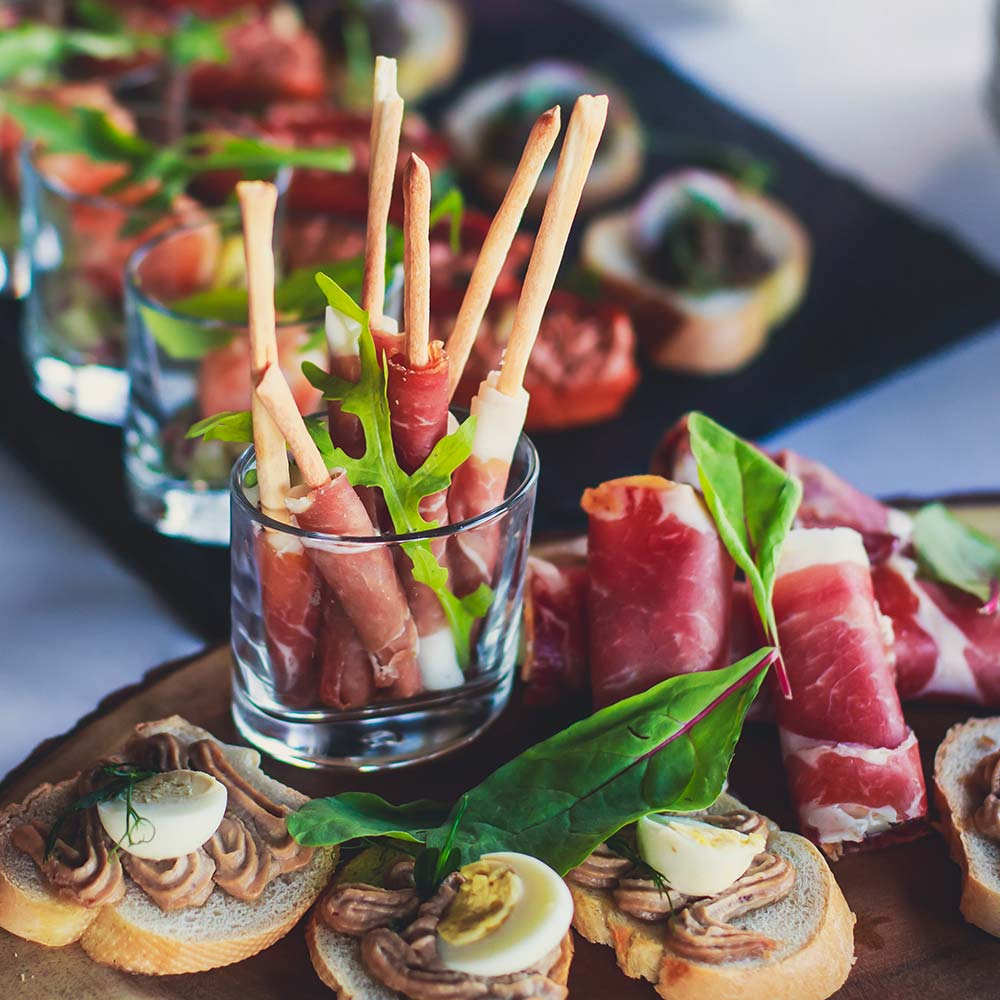 charcuterie board with meats and hors d'oeuvres