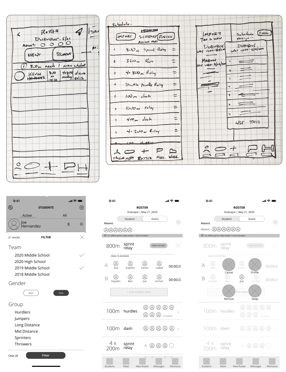 Lo-fi and medium wireframes