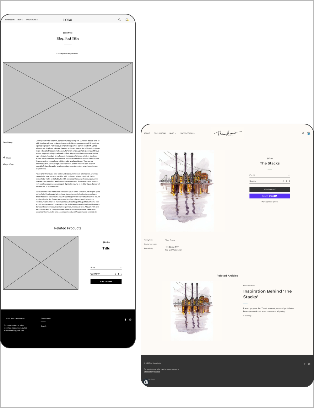 Blog and product page wireframes