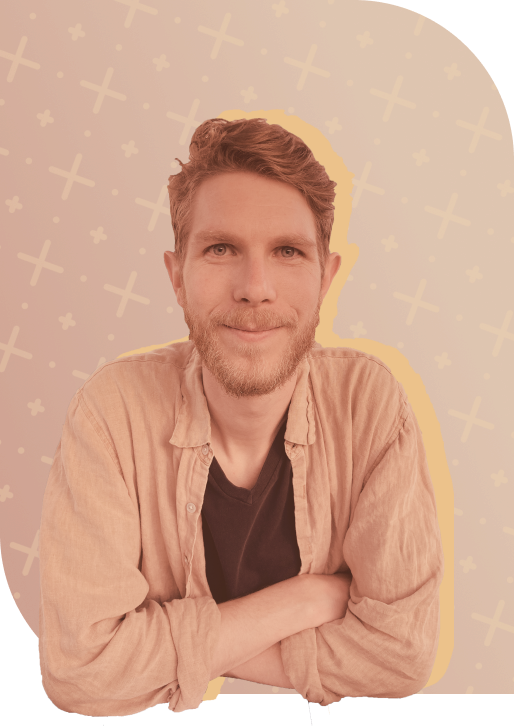 Jesse -a warm, inviting looking man with a stylized background.