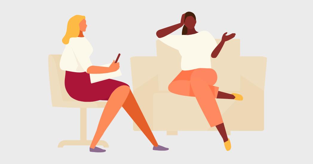 An illustration of two women talking.