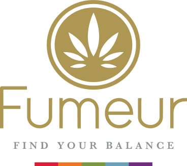 The Fumeur logo in gold with the rainbow color bar below it