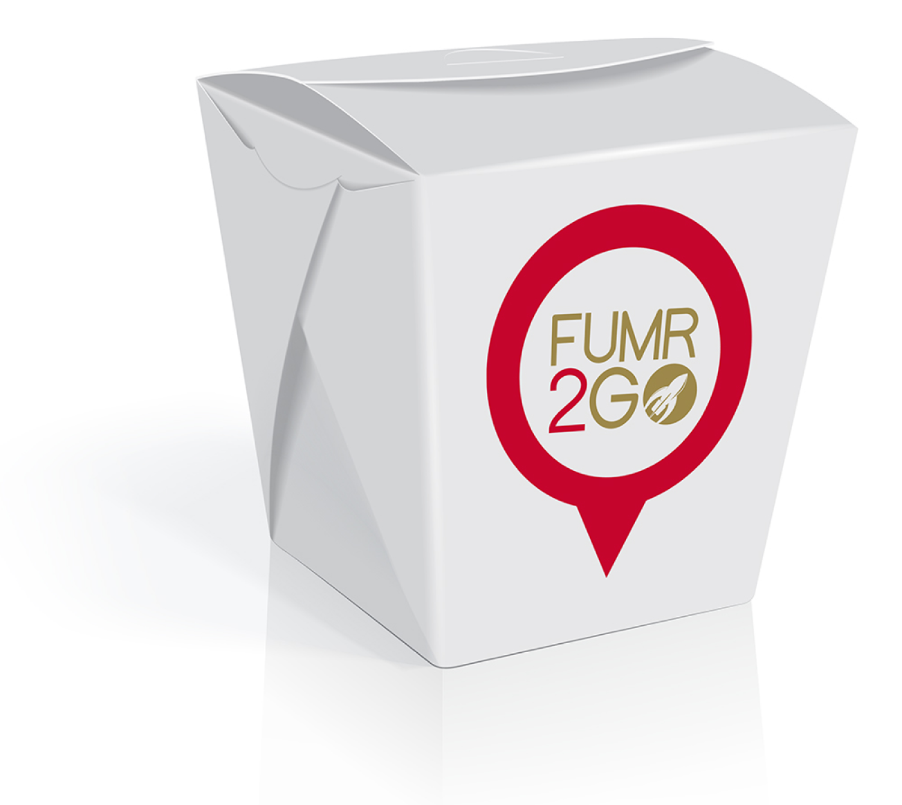 A Chinese togo box with FUMR2GO logo in red and gold