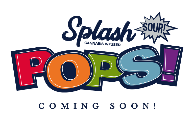 Splash Pop logo with a multicolor old school vibe letting customers know this product is coming soon